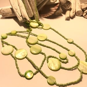Super Cute Green Beaded Long Necklace
